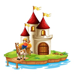 A boy and his cart in front of a castle vector image