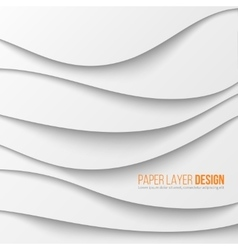 Abstract white waved paper layers with drop vector image vector image