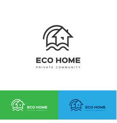 eco home logo eco house icon concept vector image vector image
