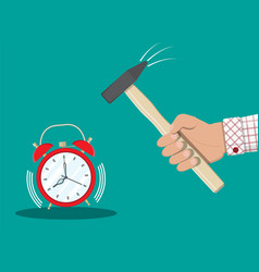 hand with hammer trying to break alarm clock vector image