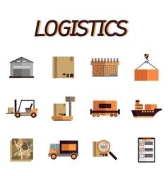 Logistic flat icon set vector image