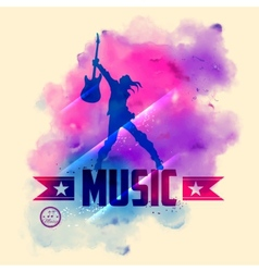 Rock star with guitar for musical background vector