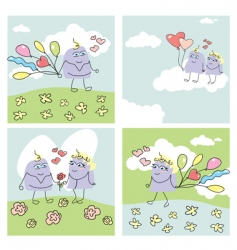 set of funny valentine cards vector image vector image