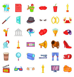 Comedy icons set cartoon style vector