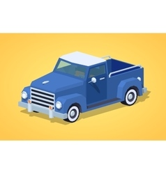 Low poly blue retro pickup vector image vector image
