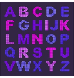 pixel alphabet with colored letters vector image
