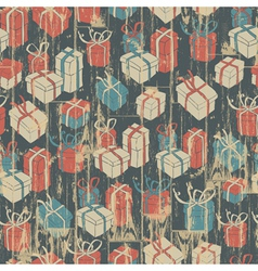 seamless christmas grunge background with gift vector image vector image