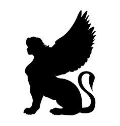 sphinx silhouette ancient egyptian mythology vector image