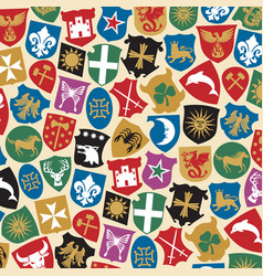 background pattern with coat of arms collection vector image