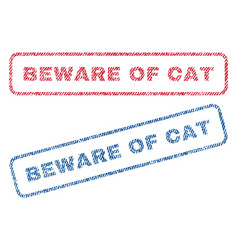 beware of cat textile stamps vector image