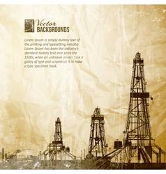 Drilling machine on vintage paper vector image