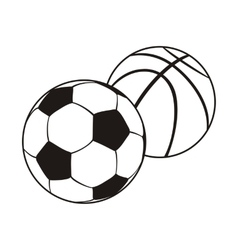 Monochrome Set Ball for Football and Basketball vector image