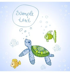 Turtle and Fish vector image