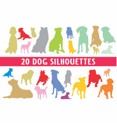 20 dogs different silhouettes designed in style vector image