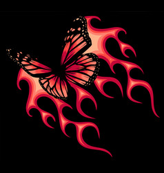 A butterfly with fire vector