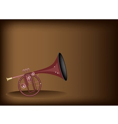 A Musical Straight Mellophone on Brown Background vector