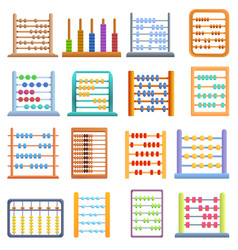 Abacus icons set cartoon style vector