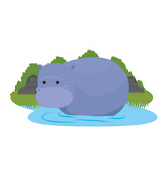 African hippo in the savannah character vector