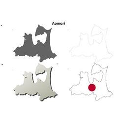 Aomori blank outline map set vector