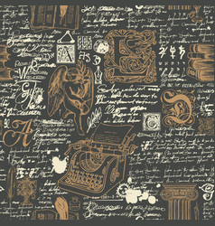 Black and gold seamless pattern on a writers theme vector
