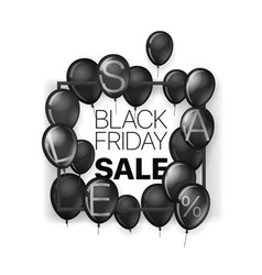 black friday sale banner with frame and black vector image
