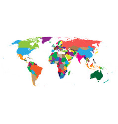 Blank colorful political world map isolated on vector