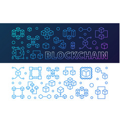 blockchain cryptocurrency outline colored banners vector image