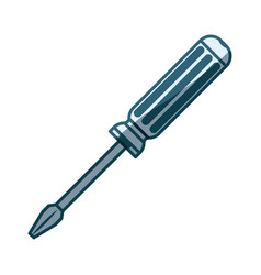 blue shading silhouette of phillips screwdriver vector image