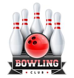 Bowling club skittles vector