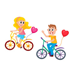 Boy and girl dating riding bicycles together vector