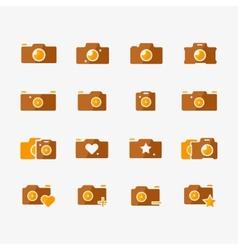 Camera icons yellow set vector
