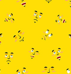 Cartoon faces seamless pattern Set of emotions on vector