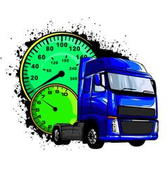 Cartoon semi truck design art vector