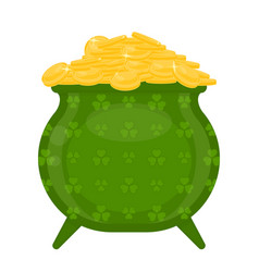 cauldron with gold coins and clover shape vector image