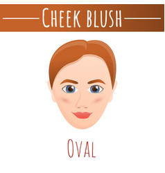 Cheek blush oval concept background cartoon style vector