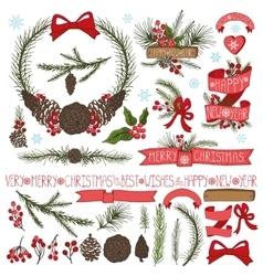 Christmas decor setSpruce branchespine cones vector