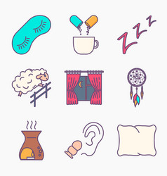 collection sleep and insomnia icon vector image