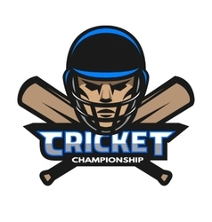 Cricket player and bats Sport logo vector