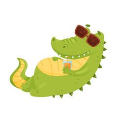 Cute humanized crocodile is resting vector