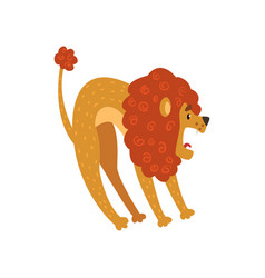Cute lion cartoon character roaring vector