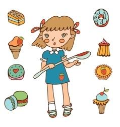 Cute little girl holding big spoon choosing sweets vector image