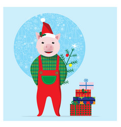 cute pig with gifts and christmas tree christmas vector image