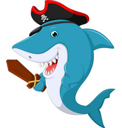 Cute shark pirate cartoon vector
