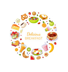delicious breakfast banner template with fresh vector image