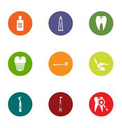 dental revamp icons set flat style vector image