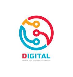 digital processor cpu - logo template vector image