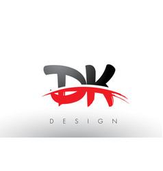 Dk d k brush logo letters with red and black vector