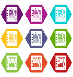 document with plan and pen icon set color vector image
