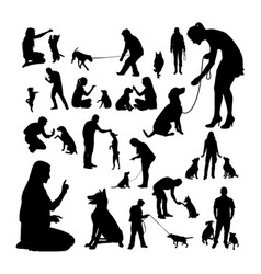 Dog trainer silhouettes vector