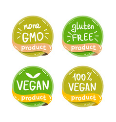 eco organic bio logos stickers set vector image
